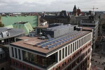 Roof of Headquarters with solar panels in Bremen, Germany